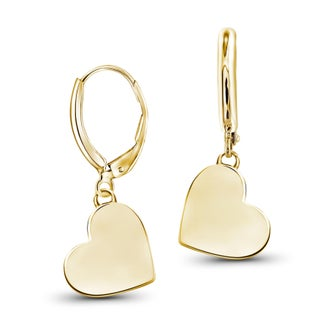 JewelonFire Yellow Goldplated or Sterling Silver Plain Heart Earrings (Option: Gold Plated - Yellow)
