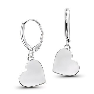 JewelonFire Yellow Goldplated or Sterling Silver Plain Heart Earrings