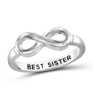 Jewelonfire Sterling Silver Engraved Best Sisters Infinity Ring
