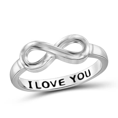 Jewelonfire 'I Love You' Sterling Silver Engraved Infinity Ring