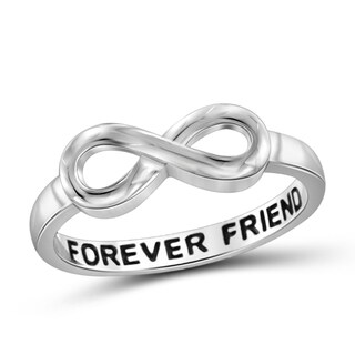 Jewelonfire Sterling Silver Engraved 'Forever Friend' Infinity Ring