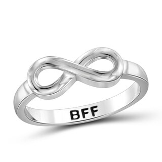 Jewelonfire Sterling Silver Engraved BFF Infinity Ring (More options available)