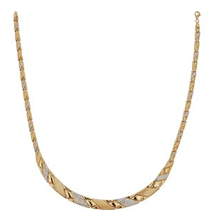 Decadence 14K Two-tone Gold 17-inch High Polished Diamond Cut Necklace