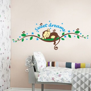 HomeSource 'Sweet Dreams' Monkey Removable Wall Decal