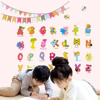 HomeSource Alphabet Letters Animals and Pennants 12-inch x 24-inch Removable Wall Graphic