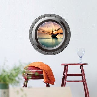 HomeSource 'Porthole of Anchored Ship' 17-inch x 17-inch Removable Wall Graphic