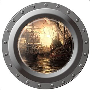 HomeSource Porthole of Ships 17-inch x 17-inch Removable Wall Graphic