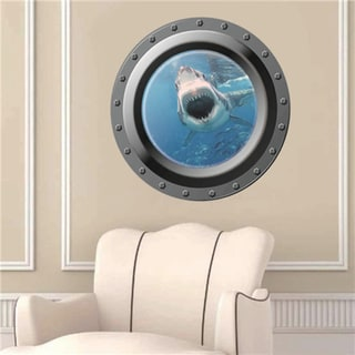 Porthole Shark Attack' 17-inch x 17-inch Removable Wall Graphic