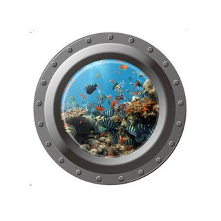 Home Source Porthole Reef 17-inch x 17-inch Removable Wall Graphic