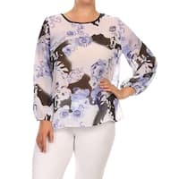 MOA Collection Women's Plus-size Multicolored Floral Chiffon Long-Sleeved Top