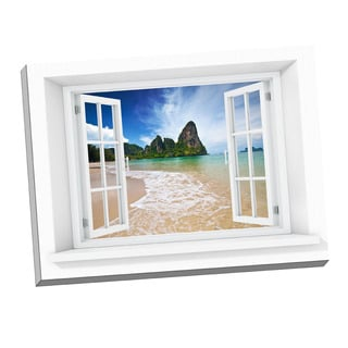 Picture It Beach Cliffs Paradise Window Art Stretched Canvas
