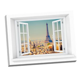 Picture It on Canvas Eiffel Tower Paradise Window Art 24-inch x 32-inch Stretched Canvas