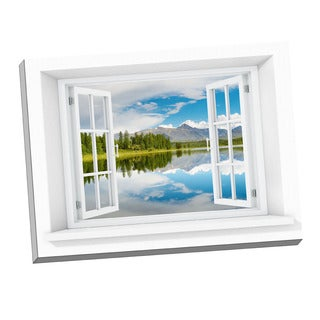 Lake Paradise Stretched Canvas Window Art