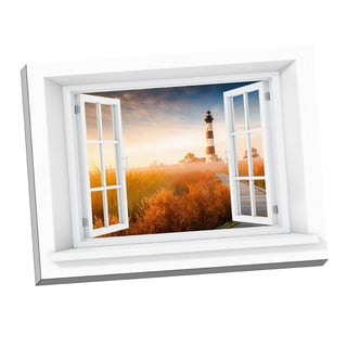 Picture It 'NC Lighthouse Paradise' Window Art Stretched Canvas
