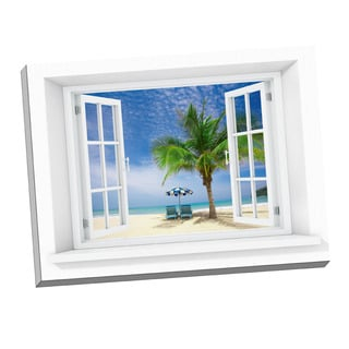 Palm Chairs Paradise' Window Art on 24-inch x 32-inch Stretched Canvas
