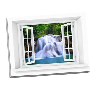 Picture It 'Waterfall Paradise Window' Art Stretched Canvas