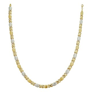 Decadence 14k Two-tone Gold DC Satin-textured XOXO 17-inch Necklace
