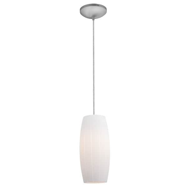 Access Lighting Cognac Steel LED Cord Pendant, White Shade