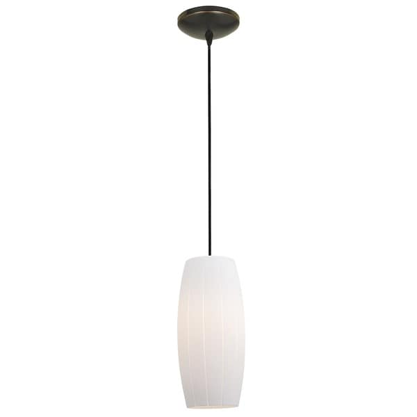 Access Lighting Cognac Bronze Integrated LED Cord Pendant, White Shade