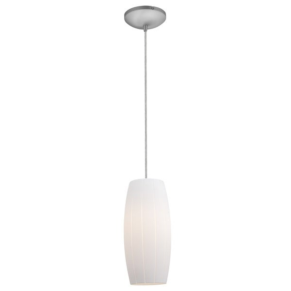 Access Lighting Cognac Steel Integrated LED Cord Pendant, White Shade