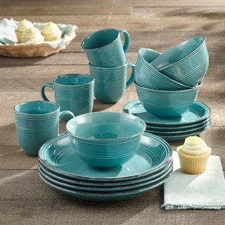 Madelyn Aqua-blue Earthenware 16-piece Dinnerware Set