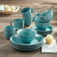 American Atelier Madelyn Aqua-blue Earthenware 16-piece Dinnerware Set
