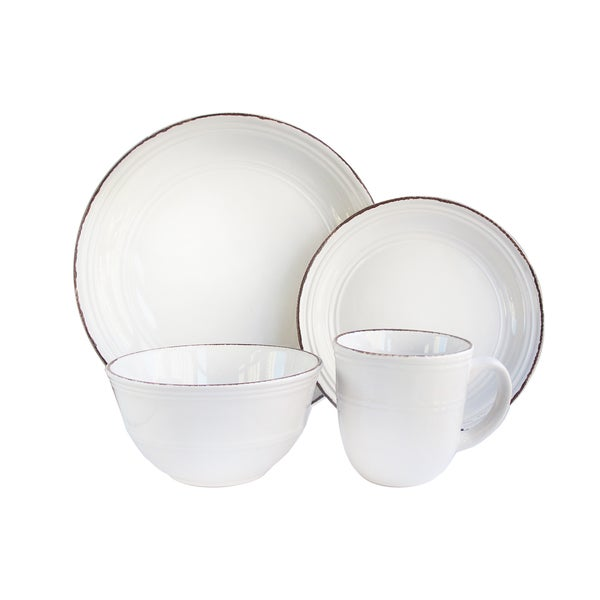 American Atelier Madelyn White Earthenware 16-piece Dinnerware Set  sc 1 st  Overstock.com & American Atelier Madelyn White Earthenware 16-piece Dinnerware Set ...