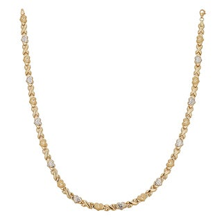 Decadence 14k Two-tone Gold 17-inch Satin-textured Diamond-cut Star XOXO Necklace