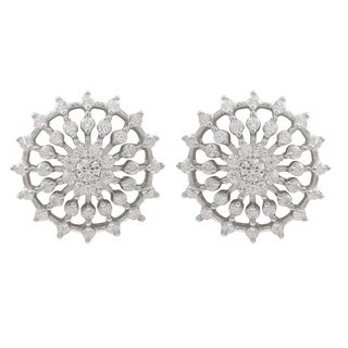 Luxiro Sterling Silver Cubic Zirconia Radial Circle Stud Earrings