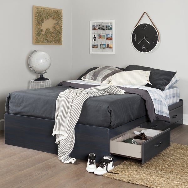 shop south shore furniture ulysses blueberry laminate bed free shipping today. Black Bedroom Furniture Sets. Home Design Ideas