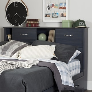 South Shore Ulysses Blue Finish Laminate Full Bookcase Headboard