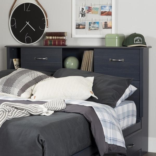 South Shore Furniture Ulysses Blue Finish Laminate Full Bookcase Headboard