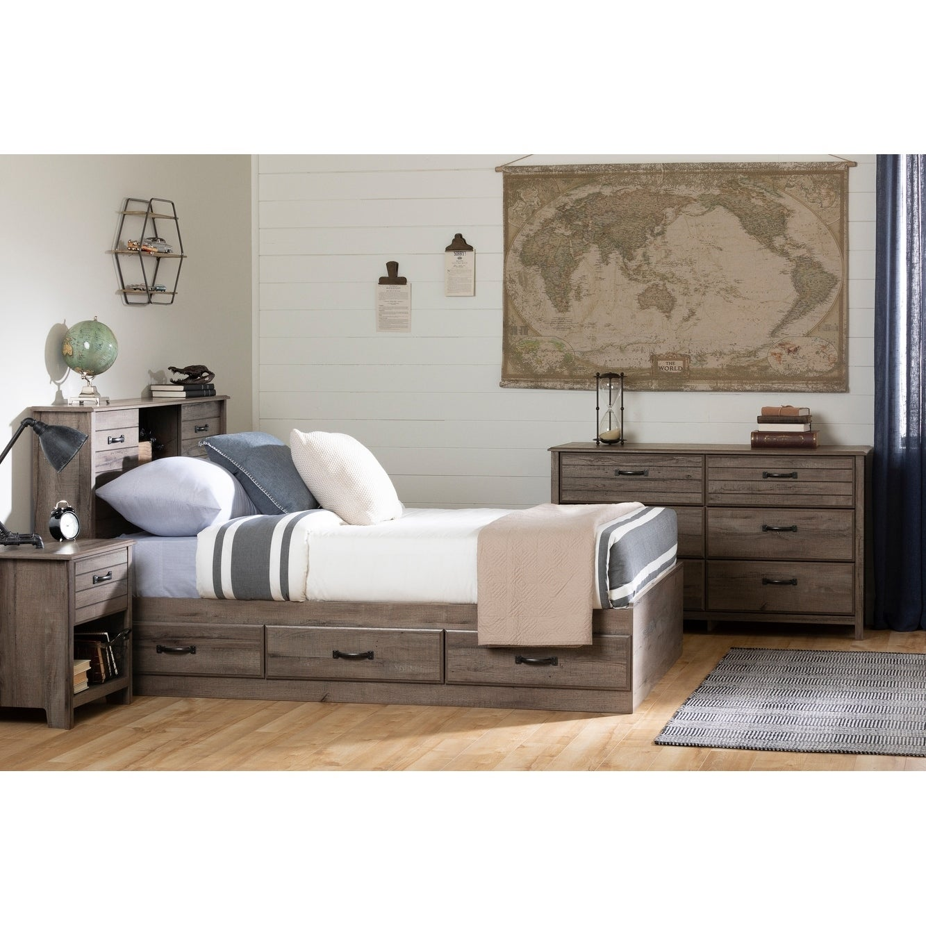 South Shore Ulysses Bookcase Headboard With Sliding Doors