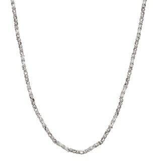 Decadence 14k White Gold 26-inch Twist Tube with Greek Key Necklace