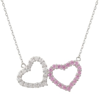 Luxiro Sterling Silver Pink Cubic Zirconia Double Heart Necklace