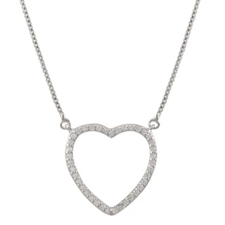 Luxiro Sterling Silver Cubic Zirconia Heart Children's Pendant Necklace