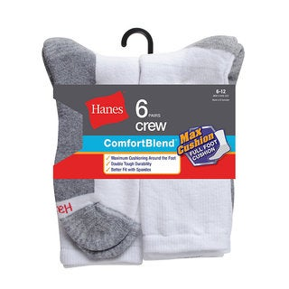 Hanes Men's ComfortBlend Max Cushion Crew Sock (Pack of 6)