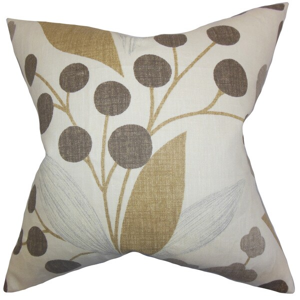 Geneen Floral Throw Pillow Cover Raffia