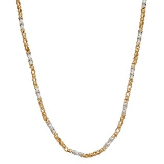 Decadence 14k Two-tone Gold 6-inch Twist Tube with Greek Key Detail Necklace