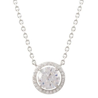 Luxiro Sterling Silver Cubic Zirconia Circle Halo Necklace