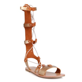 Hotsoles Turtle Strappy Gladiator Women's Lace-up Flat Sandals