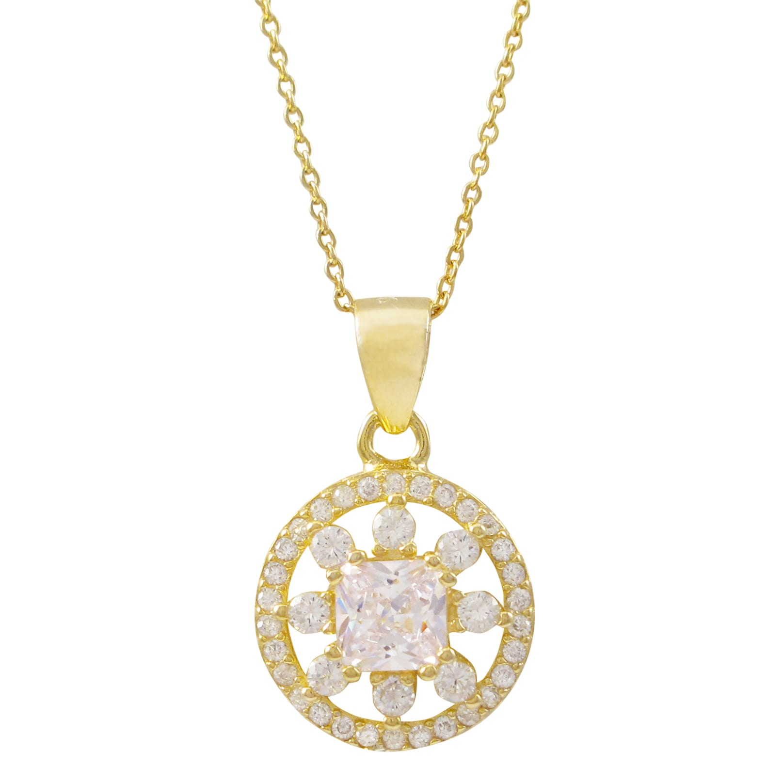 Luxiro gold finish sterling silver cubic zirconia circle pendant luxiro gold finish sterling silver cubic zirconia circle aloadofball Image collections
