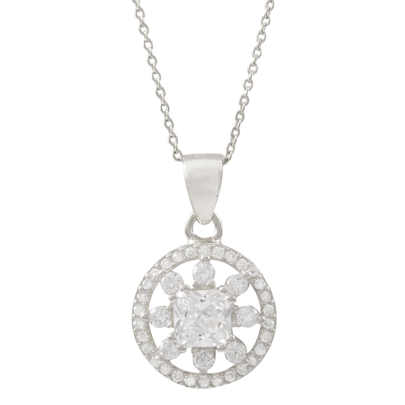 Luxiro gold finish sterling silver cubic zirconia circle pendant luxiro gold finish sterling silver cubic zirconia circle aloadofball Choice Image