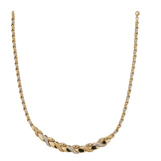 Decadence 14k Two-tone Gold 17-inch High-polished Diamond-cut Wreath Necklace