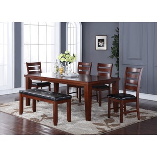 Annie Brown Faux Leather, Wood 6-piece Dining set with Bench