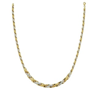 Decadence 14k Two-tone Gold 17-inch High-polished Diamond-cut Asymmetrical Cross Link Necklace