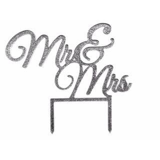 Unik Occasions Elegant Mr & Mrs Silver Glitter Acrylic Wedding Cake Topper
