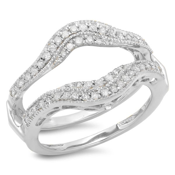 Shop 14k White Gold 1 2ct Tdw Diamond Wedding Band Double