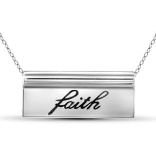 Jewelonfire Sterling Silver 'Faith' Engraved Name Plate Necklace