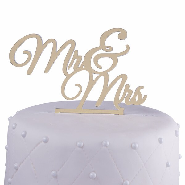 Shop \'Mr & Mrs\' Gold Mirror Acrylic Wedding Cake Topper - Free ...